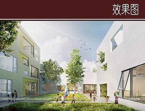 幼儿园建筑景观效果图