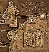 中国古代四大发明印刷术铜浮雕