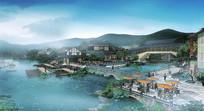 中式景观桥景观效果图