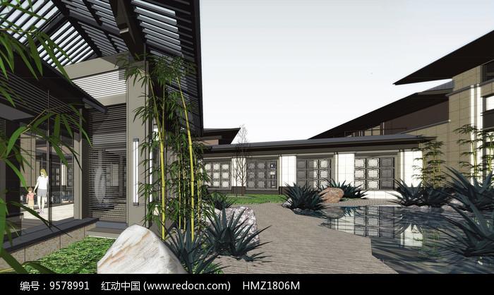 中式庭院景观效果图图片