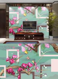 高端大气立体桃花背景墙