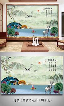 手绘山水水彩墨画大理石背景墙