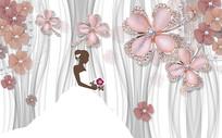 3D大气高档浮雕花朵婚纱电视背景墙