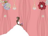 3D大气珠宝婚纱手绘美女电视背景墙