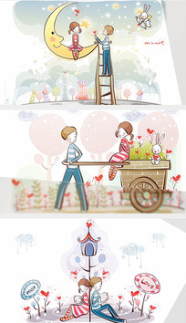 浪漫温馨情人节玻璃效果AE视频