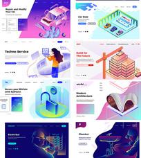 网页商务插画界面