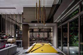现代奢华黄色台球桌效果