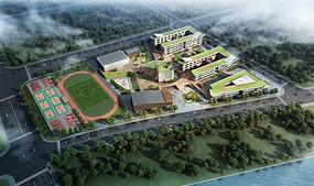 校园规划设计鸟瞰效果图