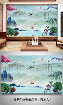 新中式大理石山水墨电视背景墙