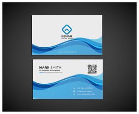蓝色科技水线条名片设计