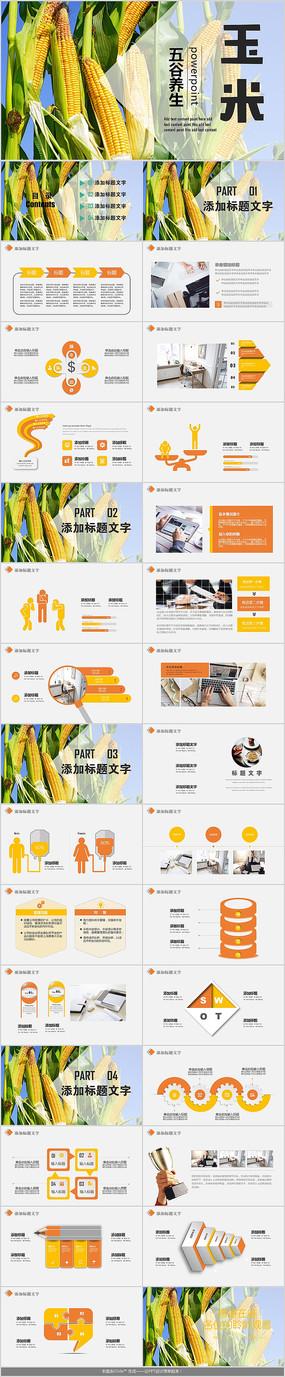 农业金色玉米PPT模板 pptx