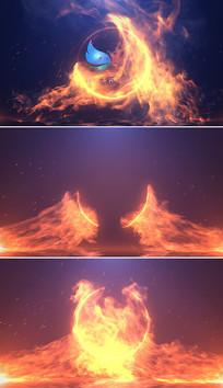 震撼火焰碰撞logo片头模板