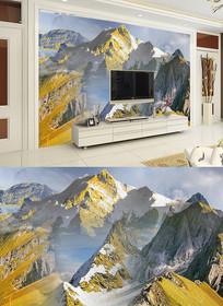 金色雪山抽象现代北欧装饰画