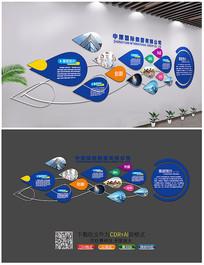 蓝色科技企业文化展板背景墙