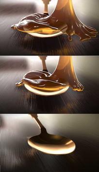 4K蜂蜜液体流动背景视频素材