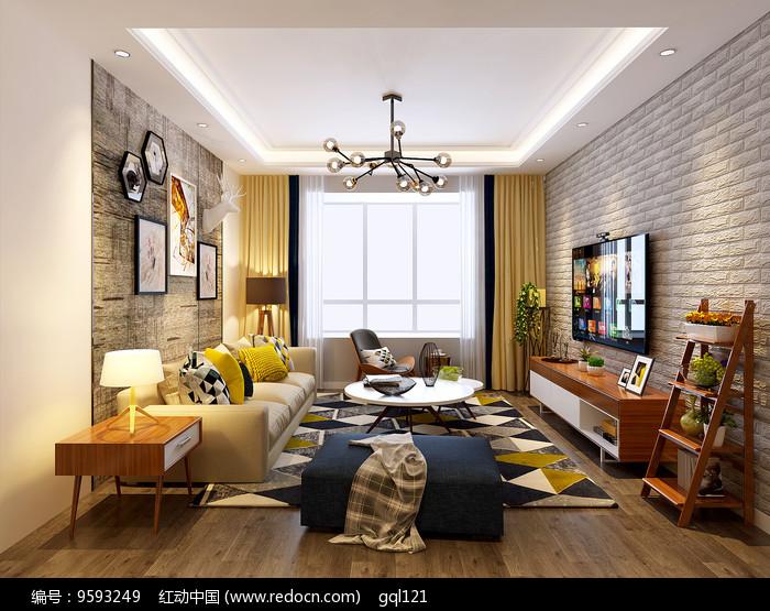 北欧风格客厅装修模型素材