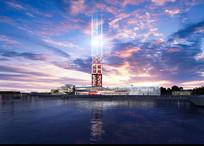 滨水景观塔夜景效果图