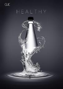 创意水花瓶子合成户外广告