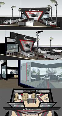 大气汽车销售展厅SU模型