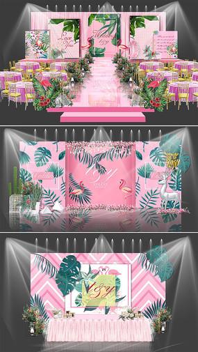 粉色火烈鸟婚礼效果图设计