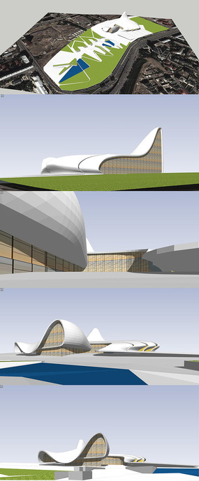 现代流线型文化中心建筑