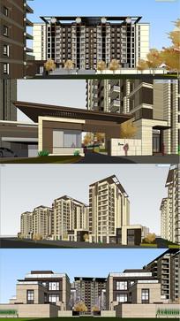 住宅小区建筑景观SU
