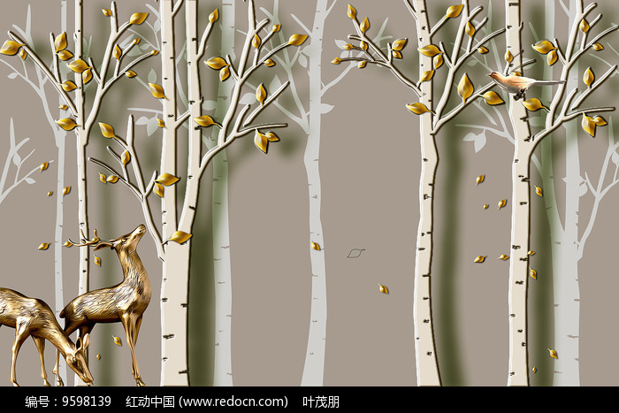 3d浮雕立体森林梅花鹿背景墙
