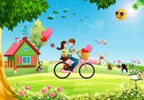 3D卡通绿色花草情侣背景墙