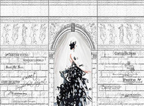 大型手绘婚纱女孩背景墙