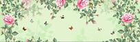 全屋定制手绘花朵蝴蝶背景墙