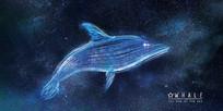 唯美梦幻的星空鲸鱼背景板
