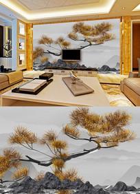 中式古典五针松背景墙