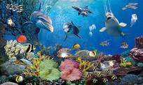 3D海底世界海滩海草背景墙