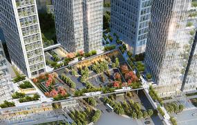 办公区公共空间绿化鸟瞰图