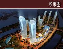 玻璃高层商务建筑鸟瞰图 JPG