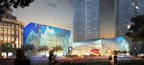 玻璃幕墙建筑沿街透视图 JPG