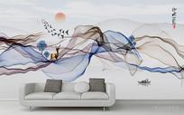抽象水墨山水装饰画沙发背景墙