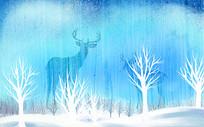 高端蓝色手绘麋鹿电视墙