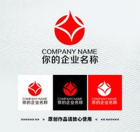 红色圆形星星变形logo