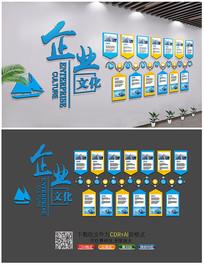 蓝色商务集团公司企业文化墙