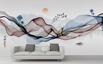 现代简约水墨山水背景装饰画