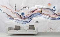 新中式抽象水墨山水画背景墙