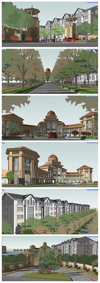 一个欧式住宅区的入口景观规划