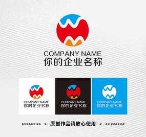 圆形MW字母变形商业logo