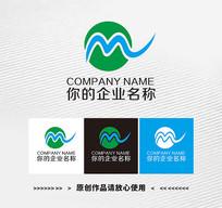 圆形字母M logo标志