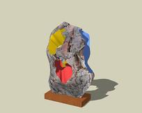 彩色石头雕塑 skp