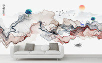 抽象水墨山水背景墙