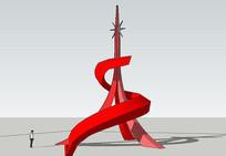 红色铁塔型雕塑