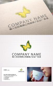 漂亮时尚蝴蝶logo标志 AI