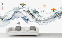 水墨抽象山水画背景墙